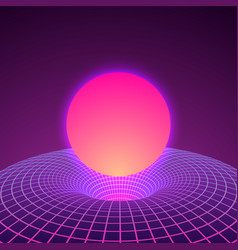 black hole and warp space in neon colors 80s vector image