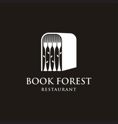 book forest with fork logo design vector image