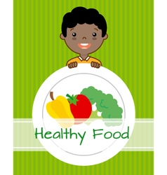 Boy with vegetables vector