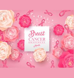 Breast cancer awareness papercut pink rose flower vector