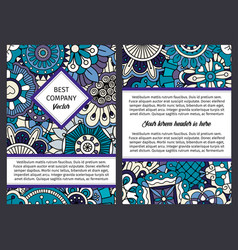 brochure with blue floral ethnic pattern vector image