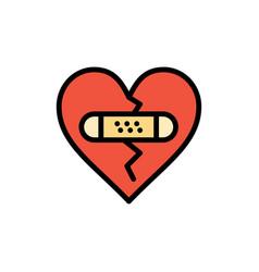 Broken emotions forgiveness heart love flat color vector