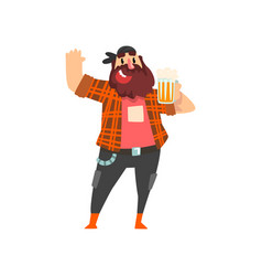 Brutal drunk man with mug of beer in his hand vector