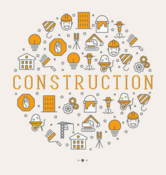 Building construction concept in circle vector