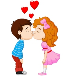 Cartoon boy and girl are kissing vector image