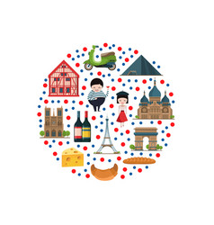 cartoon france sights and objects vector image