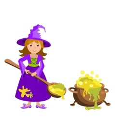 Cartoon image of funny witch with red hair vector