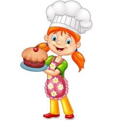 Cartoon little girl holding cake vector