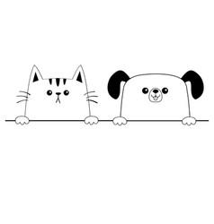 Cat dog happy face head icon contour silhouette vector