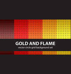 Circle pattern set gold and flame seamless vector