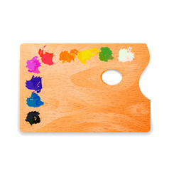 classic rectangle wooden artist palette with oil vector image