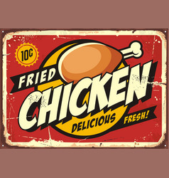 Comic style retro sign design with chicken drumsti vector
