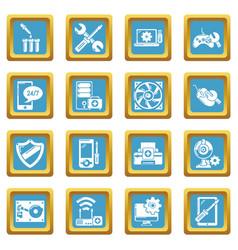 computer repair service icons set sapphirine vector image