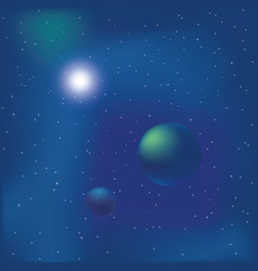 cosmic background with shining star and planets vector image