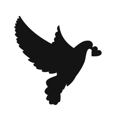 Dove with heart simple icon vector