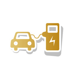 electric car battery charging sign golden vector image