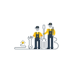 Electric workers with tools internet support vector