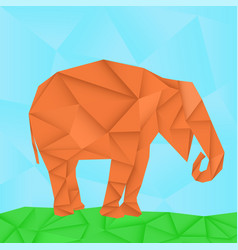 elephant polygonal origami like vector image