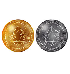 eos gold and silver coins vector image