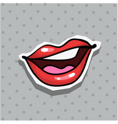 fashion patch badge with sexy nasty cool lips pop vector image