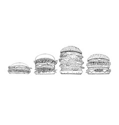 fast food collection fresh burgers set vector image