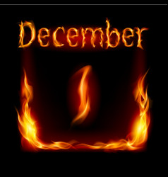 First december in calendar of fire icon on black vector
