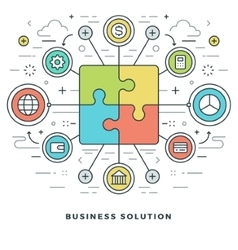 Flat line Business Solution Concept vector