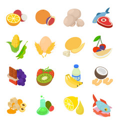 Fruit filling icons set isometric style vector