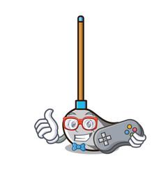 gamer mop mascot cartoon style vector image