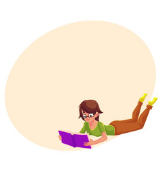 Girl woman in glasses reading a book in lying vector