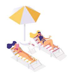 Girlfriends resting relaxing on lounge chairs vector