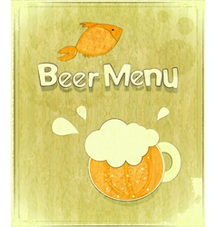 glass beer and fish vector image