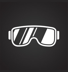 Glasses icon on black background for graphic and vector