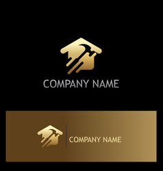 Gold house renovation company logo vector