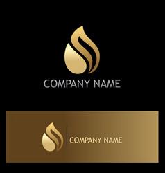 Gold water drop ecology logo vector
