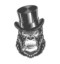 Gorilla head in monochrome style vector
