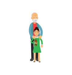 grandfather standing with his granddaughter vector image