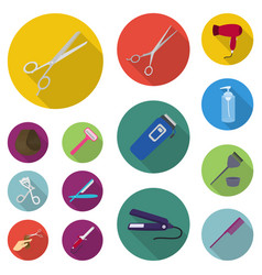 hairdresser and tools flat icons in set collection vector image