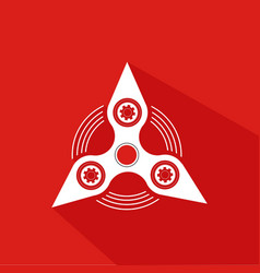Hand spinner emblem with red background vector