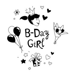 Happy birthday b-day girl with crown lettering vector
