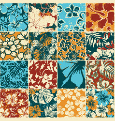 hibiscus flowers fabric patchwork wallpaper vector image