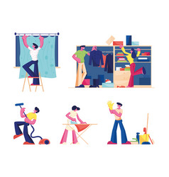 household activities set male and female vector image
