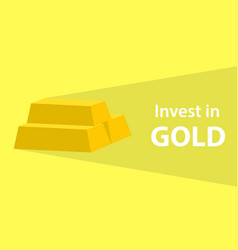 invest in gold quotes with golden bar with long vector image