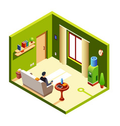 Isometric man in recreation room vector
