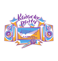 karaoke party design music event background vector image