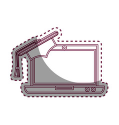 Laptop computer with graduation hat isolated icon vector