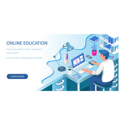 learning online at home student sitting at desk vector image