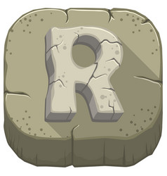 Letter r carved from stone vector