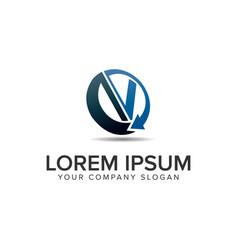 Letter v modern circular logo design concept vector