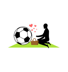 Lover soccer guy and football ball on picnic meal vector